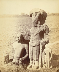 Ancient statues at Deoriya, Allahabad District: fragment of ancient Buddha and large figure now worshipped as Shringari Devi